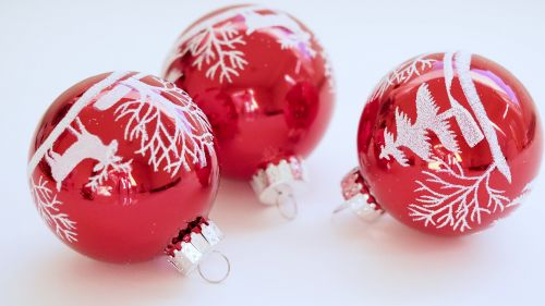 Three White-and-red Christmas Tree Printed Baubles HD Wallpaper