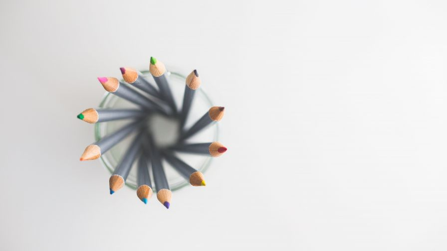 Top view of colored pencils HD Wallpaper