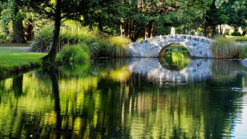 Unique Old Stone Arched Bridge Lake HD Wallpaper