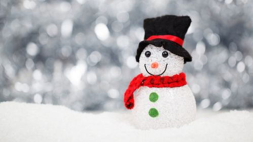 White Red and Black Snowman HD Wallpaper