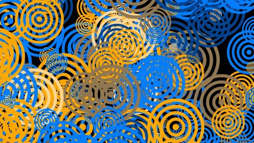 Yellow and blue circle patterns HD Wallpaper