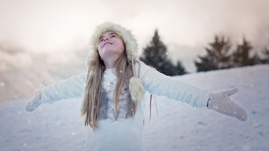 Young Woman in Snow HD Wallpaper