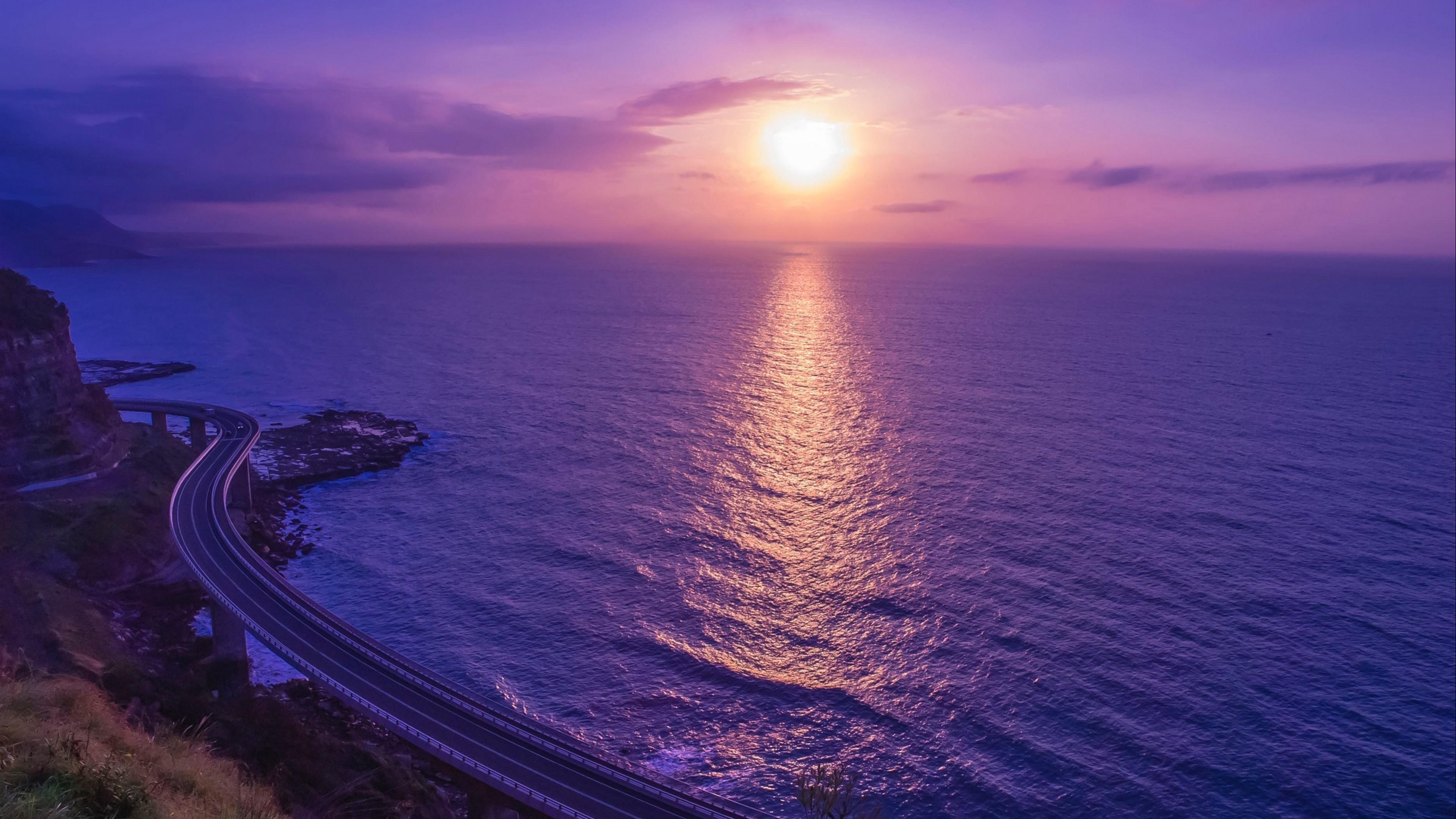 Lilac Sea Sunset Hd Wallpaper 4k Ultra Hd Hd Wallpaper