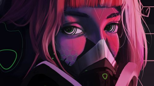 Anime face with a mask HD Wallpaper