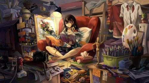 Anime girlg reading book on the couch HD Wallpaper
