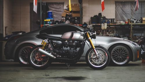 Bike & Car in the garage HD Wallpaper