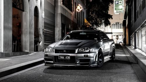 Black Nissan Skyline HD Wallpaper