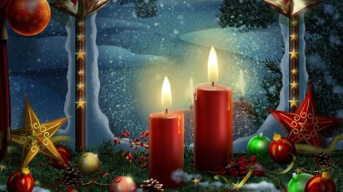 Christmas candles HD Wallpaper