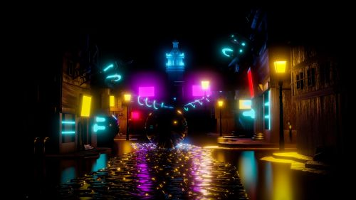 Colorful neon balls at the street HD Wallpaper