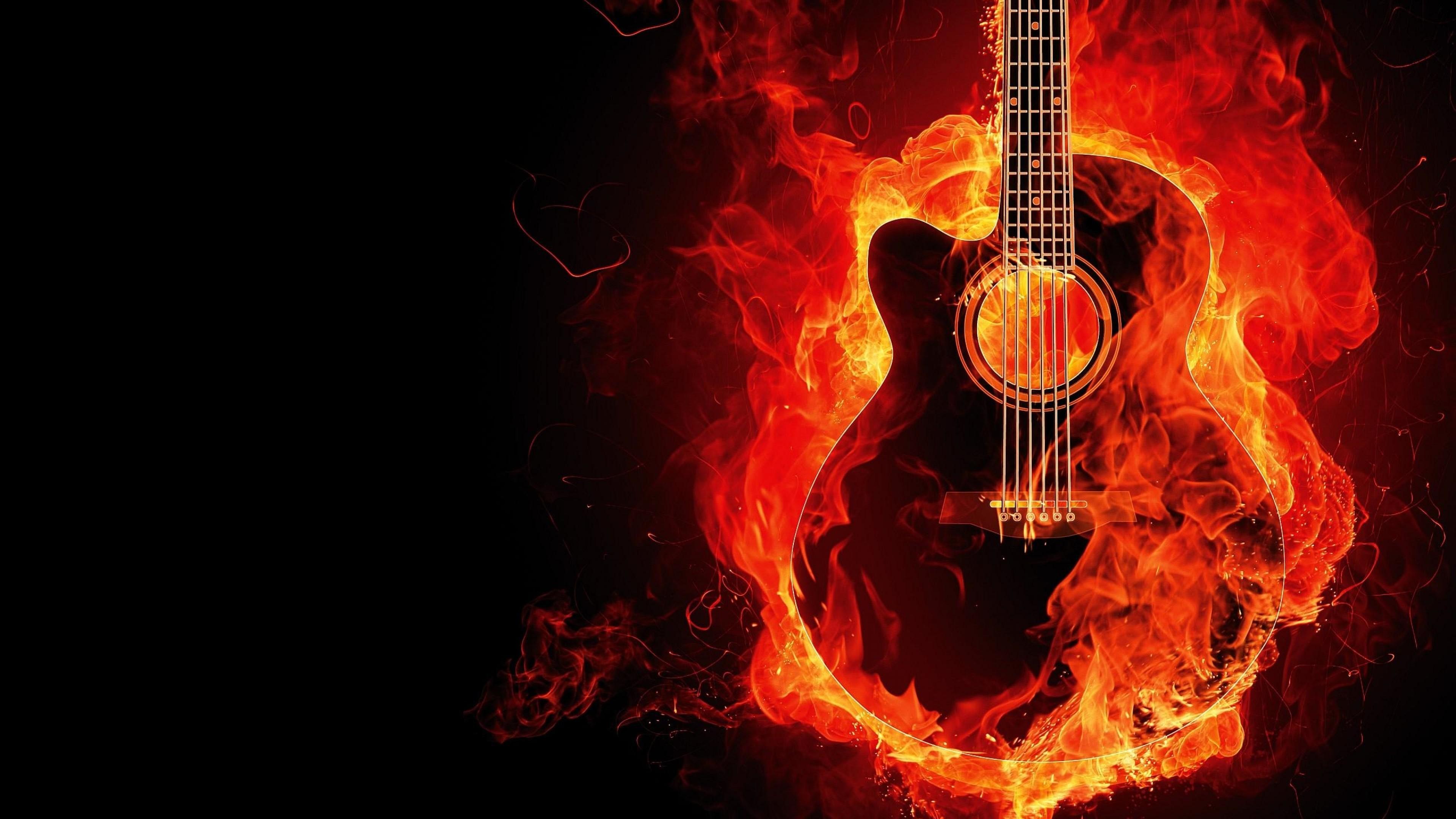 Download Fire Guitar Full Hd Wallpaper For Desktop And
