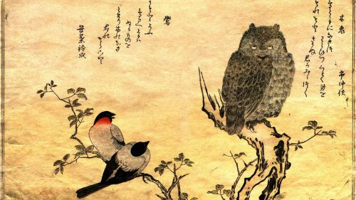 Hokusai Bird And Flowers HD Wallpaper