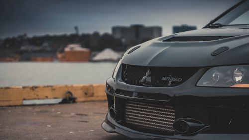 Mitsubishi Evo front view HD Wallpaper