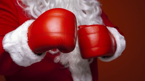 Santa Claus Wearing Boxing Gloves HD Wallpaper