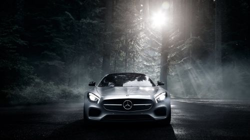 Silver Mercedes AMG front view HD Wallpaper