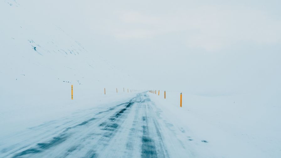 Slippery road covered in ice HD Wallpaper