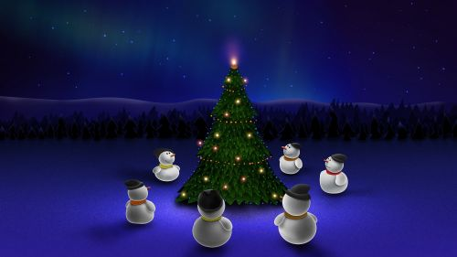 Snowman around Christmas tree HD Wallpaper