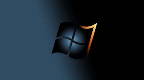 Windows 7 Black and yellow logo HD Wallpaper